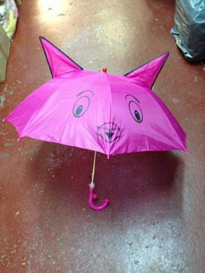 Kids umbrella with whistle asstd colours